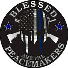 Blessed Are The Peacemakers Blue Line Police Car Truck Laptop Wall Sticker Decal