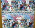 Fabric Angels Stars Moon Yellow White Orange Pink On Blue Sky 18 X 34 And Bhy