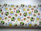 Fabric Material Pigs Hogs Birds Wheat Flowers The Owls Are Flannel