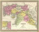 1854 Mitchell Map of Turkey  Syria  Iraq  and the Holy Land