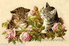 Kittens Roses Vintage Cats Diy Counted Cross Stitch Pattern