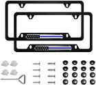 2x Us American Flag Car License Plate Steel Frame Cover Hold Blue Line Screw Cap