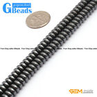 Black Hematite Gemstone Rondelle Spacer Beads For Jewelry Making Free Shipping
