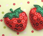 45pc X 1 Padded Shiny Sequined Felt Strawberry Appliques Wleaf For Bows St64b