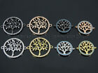 Zircon Gemstones Pave Tree Of Life Bracelet Connector Charm Beads Gold Silver