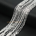 Wholesale Lots 1.4mm 925 Sterling Silver Plated Singapore Wave Chain Necklace