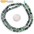 Natural Faceted Rondelle Ruby Zoisite Spacer Beads For Jewelry Making Strand