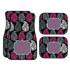 Personalized Black Grey Pink Leaves Car Mats