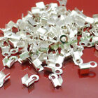 200500pcs Gold Silver Plated Fold Over Cord Crimp End Beads Tip Jewelry Making