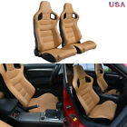 2x Car Racing Seats Reclinable Bucket Full Wrap Leather Seat2 Sliders Universal