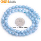 Round Blue Aquamarine Color Jade Faceted Stone Jewelry Making Loose Beads 15