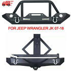 For 07-18 Jeep Wrangler Jk Winch Plate Front Rear Bumper Tire Carrier Led Lights