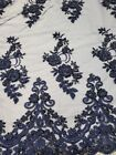 Floral Mesh Lace Fabric W Hand Beaded Embroidery - 52 -sold By The Yard