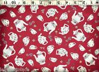 Quilting Treasures Tea Pots Cups On Red Or Blue 100 Cotton Quilt Fabric Bty