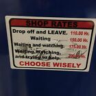 Shop Rates Overlay Decal Matco Tool Box Cart 6 Colors To Choose From