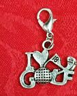 Antique Silver Golf Charm - Club - 18 Holes - Love - Necklace - Bail - Lobster