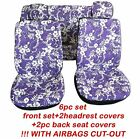 Complete Set Car Seat Covers Hawaii Front Headrest And 2 Pc Rear Bench Purple