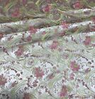 Pink Gold Floral Paisley - Faux Silk Brocade Fabric