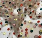 Embroidered Multi Colored Dots On Beige - Tulle Fabric