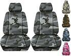 Front Set Car Seat Covers Fits 2005-2020 Toyota Tacoma Camo Gray