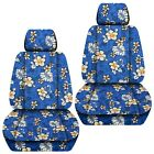 Front Set Car Seat Covers Fits 2005-2020 Toyota Tacoma Hawaill Blue Flower