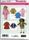 Simplicity Pattern 2768 2761 3551 3520 Or 4347 Fits American Girl Doll 18