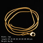 1pcs 18k Yellow Gold Gp 1mm Hot Selling Snake Chains Necklace Ghp207