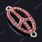 1x Side Way Crystal Peace Symbol Sign Bracelet Connector Charm Beads Finding Diy