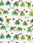 Frog Prince Fabric Watercolor Frogs On White Hearts Premium Cotton