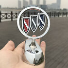 1pc 3d Alloy Wing Logo Hood Stand Decoration Emblem Badge For Buick Chrome Gold