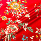Floral Satin Faux Silk Fabric Chinese Brocade Clothes Crafts Diy Vintage