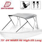 Bimini Top Boat Roof Cover 3 Bow 4 Bow Gray Canopy Cover 6ft 8ft Long 600d
