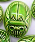 Vintage Bright Lime Green Tribal Scarab Cabochon Domed Top Flat Back 18 Mm