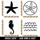 Seahorse Sand Dollar Ocean Waves Starfish Tropical Rubber Stamp Set For Stamping