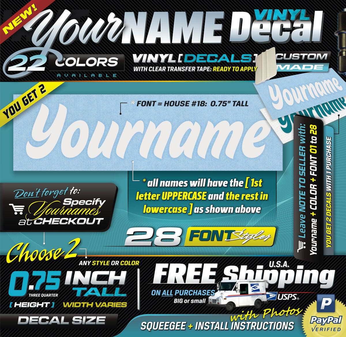 """0 75"""" Tall 2 Your Name Custom Personalized Vinyl Decal Sticker Car Laptop"""