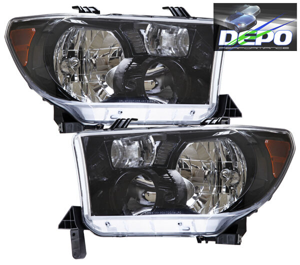 07 11 Toyota Tundra Pickup Black Head Lights OE Style Depo