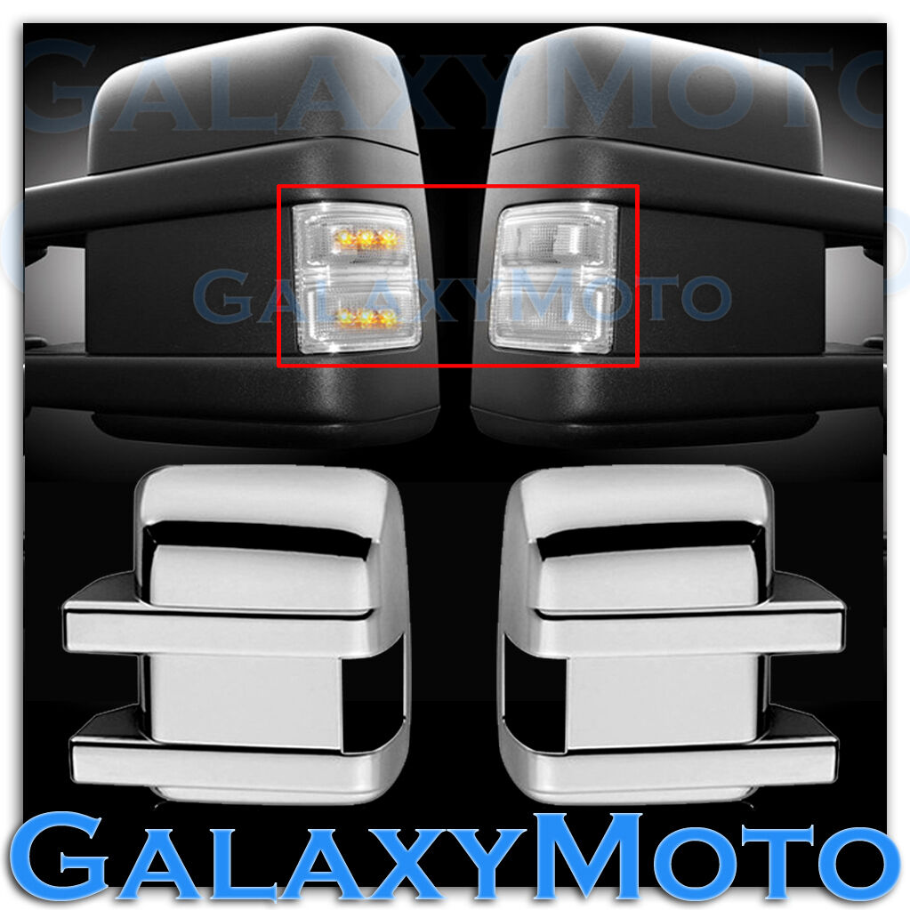 08 13 Super Duty Side Turn Lights LED Clear Lens Replacement Chrome Mirror Cover