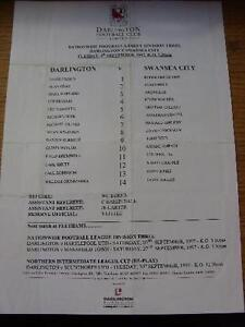 09-09-1997-Colour-Teamsheet-Darlington-v-Swansea-City-Folded-Item-In-very-go