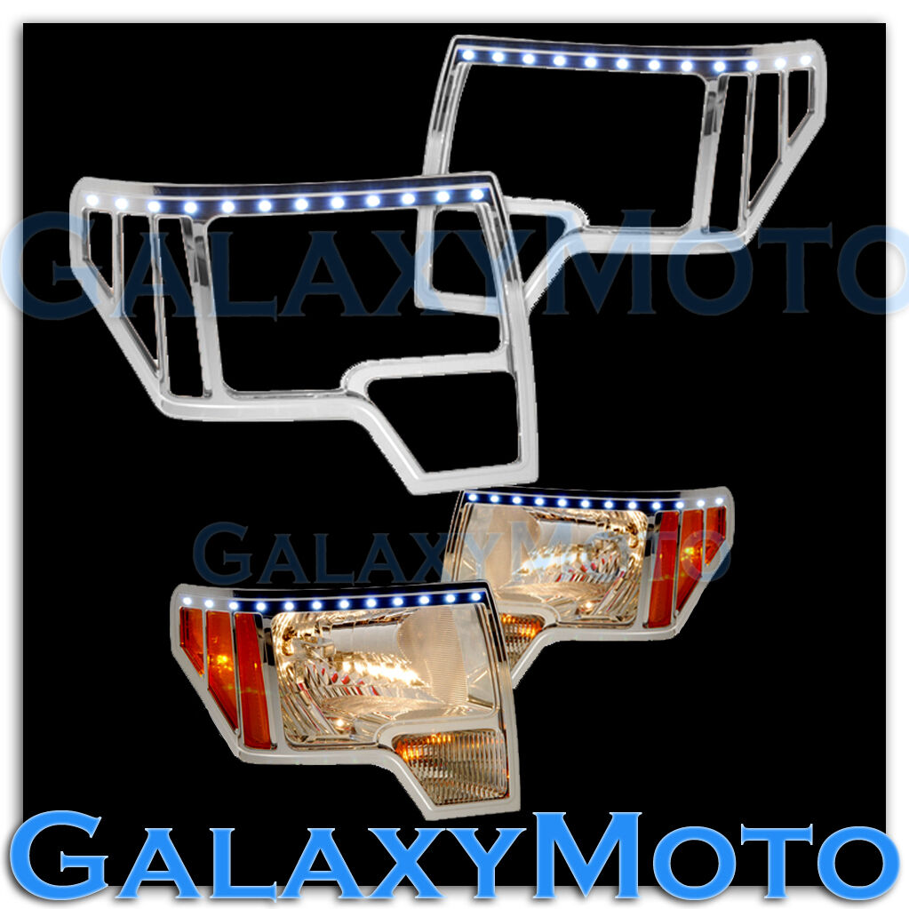 09 13 Ford F150 Truck Chrome Headlight Head Light Trim Bezel LED Cover 2013