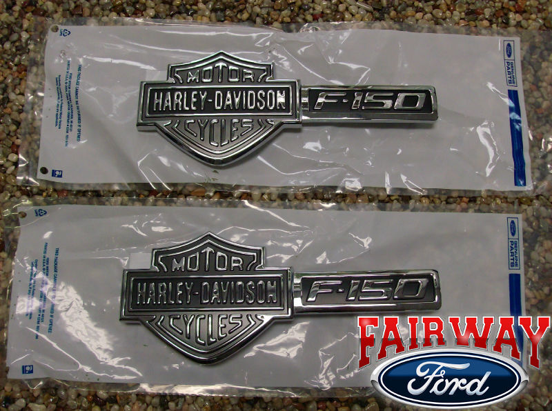 09 thru 14 F 150 Genuine Ford Parts Harley Davidson Fender Emblems Pair