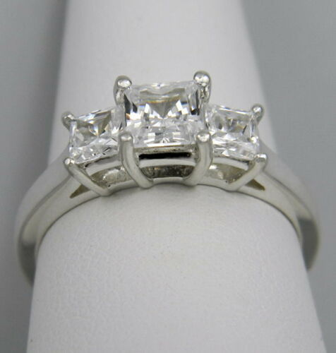 1.00 CTW PRINCESS CUT 3 STONE ENGAGEMENT RING SOLID 14K GOLD in Jewelry & Watches, Engagement & Wedding, Engagement Rings | eBay