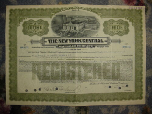 $1,000 New York Central Railroad Bond Stock Certificate Company in Coins & Paper Money, Stocks & Bonds, Scripophily, Transportation | eBay