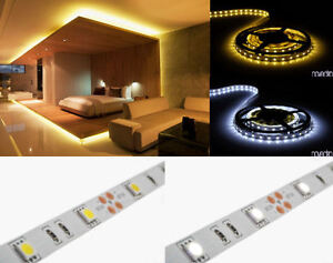 1-10m-LED-Streifen-Strip-Leiste-Warmweiss-Kaltweiss-Weiss-SMD3528-und-SMD5050