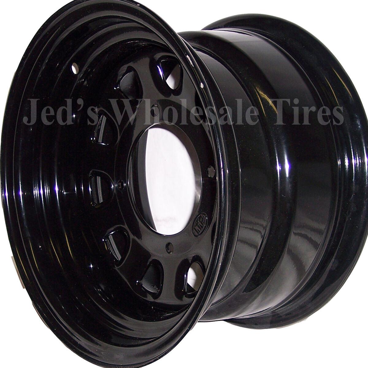 """1 12"""" 12x7 2 5 4 137 ITP Delta Steel Black D Window Dot Rim Wheel D12R537 10mm"""