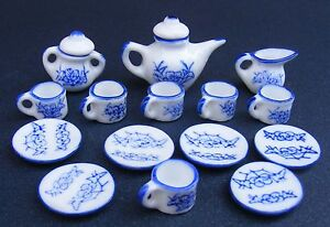 1-12-Scale-Ceramic-15-Piece-Blue-White-Dolls-House-Miniature-Tea-Set-W10