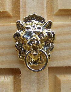 1-12-Scale-Dolls-House-Miniature-Metal-Polished-Lion-Head-Door-Knocker-Accessory