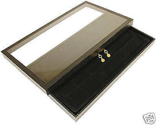 1 24 pair earring acrylic lid jewelry display case tray ebay for Jewelry tray with lid