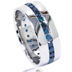 1 25ct Blue Diamond Channel Set Eternity Mens Wedding Ring Band 14k White Gold