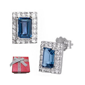 1.30 ct London Blue Topaz Sterling Silver Stud Earrings