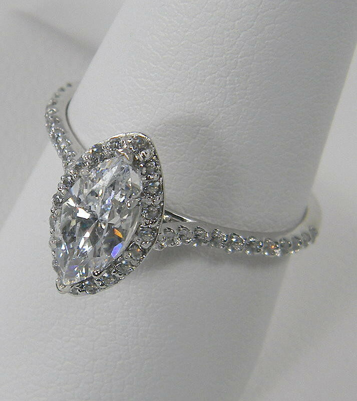 1 42 CTW MARQUISE CUT HALO ENGAGEMENT RING WITH ACCENTS SOLID 14K GOLD